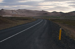 Trip on the road in iceland. A beautiful road among wild nature Stock Photography