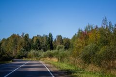 Russian roads in villages and forests stock photography