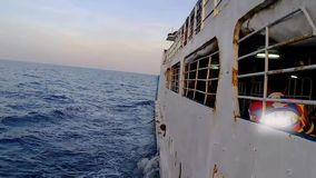 The trip by sea by ferry. stock footage