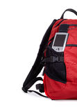 Trip Set. Red backpocket with pocket pc nad GPS isolated over white background Stock Images