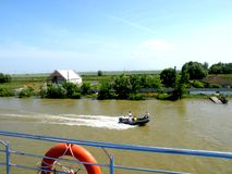 Trip with the ship on Sulina channel in Danube Delta, Tulcea, Romania Stock Photography