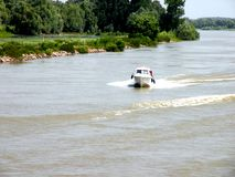 Trip with the ship on Sulina channel in Danube Delta, Tulcea, Romania Stock Images