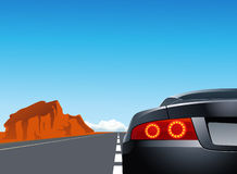 Trip with sport car Stock Images