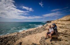Trip to Ajuy rocky coastline Stock Photography