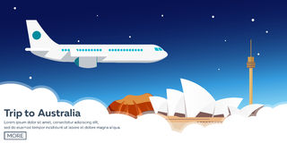 Trip to Australia. Sydney. Travelling illustration. Modern flat design. Time to travel. Royalty Free Stock Images