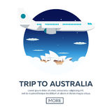 Trip to Australia. Sydney. Travelling illustration. Modern flat design. Time to travel. Royalty Free Stock Photo