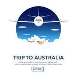 Trip to Australia. Sydney. Travelling illustration. Modern flat design. Time to travel. Stock Images