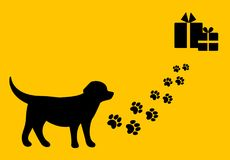 The trip to the christmas gifts. Dog and path with the paw prints. Flat design Stock Images
