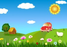 Trip to the country. Traveling to the country side in a sunny summer day vector illustration
