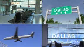 Trip to Dallas. Airplane arrives to the United States conceptual montage animation. Trip to Dallas. Traveling to the United States conceptual animation stock video footage