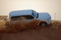 Trip to the desert. Car trip to the desert in Dubai royalty free stock photography