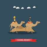 Trip to Egypt, camel riding concept vector flat illustration. Vector illustration of tourists young couple riding camels. Trip to Egypt concept flat style design Royalty Free Stock Image