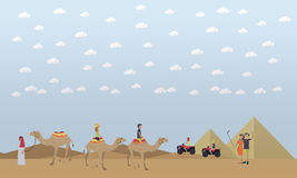 Trip to Egypt, pyramids, riding camels concept vector flat illustration royalty free illustration