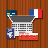 Trip to France icons. Illustration design Stock Photography