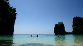 Trip to Hong Island in Thailand. Blue Lagoon at Hong Island. Landscapes near Krabi stock footage