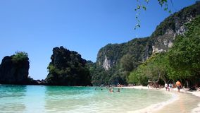 Trip to Hong Island in Thailand. Blue Lagoon at Hong Island. Landscapes near Krabi stock video footage
