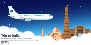 Trip to India. Tourism. Travelling illustration. Modern flat design. Travel by airplane, vacation, adventure, trip. Stock Image