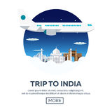 Trip to India. Tourism. Travelling illustration. Modern flat design. Travel by airplane, vacation, adventure, trip. Royalty Free Stock Photo