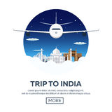 Trip to India. Tourism. Travelling illustration. Modern flat design. Travel by airplane, vacation, adventure, trip. Stock Images