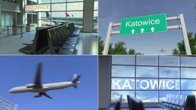 Trip to Katowice. Airplane arrives to Poland conceptual montage animation. Trip to Katowice. Traveling to Poland conceptual animation stock video
