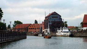 Trip to Klaipeda. A trip around the Bay and the river in the district of Klaipeda stock video