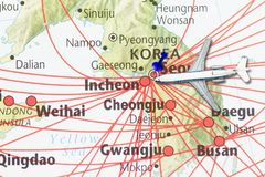 Trip to Korea concept. With map of korea and push pin in the capital city of Seoul Stock Photography