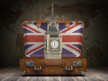 Trip to London. Travel or tourism to England or Great Britain co. Ncept. Big Ben tower in the open vintage suitcase. 3d illustration vector illustration