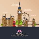 Trip to London. Vacation. Road trip. Tourism. Journey. Travelling illustration London city. Modern flat design. Big Ban. England. Royalty Free Stock Images