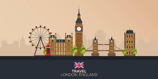 Trip to London. Vacation. Road trip. Tourism. Journey. Travelling illustration London city. Modern flat design. Big Ban. England. Stock Images