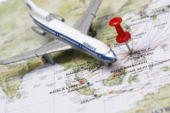 Trip to Manila. Concept - with manila map and toy plane stock photography