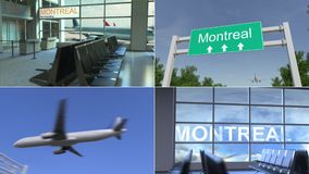 Trip to Montreal. Airplane arrives to Canada conceptual montage animation