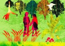 Trip to nature. Color illustration of Two children in the open Field Royalty Free Stock Photo