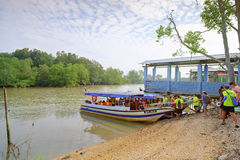 Trip to new found Island of Sky Mirror   Malaysia. Selangor, Malaysia - May 28, 2017: Tourist boat loading passengers for a trip to the new found island about 10 Stock Photo