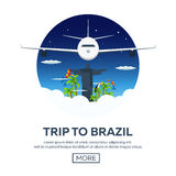 Trip to Rio. Tourism. Travelling illustration. Modern flat design. Travel by airplane, vacation, adventure, trip. Royalty Free Stock Image