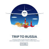 Trip to Russia, Moscow. Tourism. Travelling illustration. Modern flat design. Travel by airplane, vacation, adventure, trip. Royalty Free Stock Photography