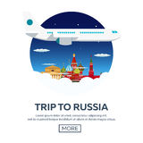 Trip to Russia, Moscow. Tourism. Travelling illustration. Modern flat design. Travel by airplane, vacation, adventure, trip. Royalty Free Stock Image