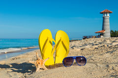 Trip to the sea. Sunny positive beach vacation. Stock Images