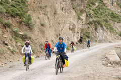 Trip to Tibet by bike Stock Photos