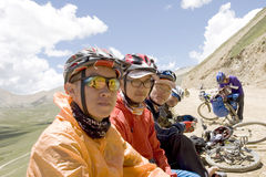 Trip to Tibet by bike Stock Photo