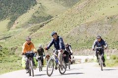 Trip to Tibet by bike Stock Photo