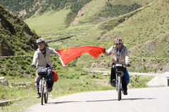 Trip to Tibet by bike. Each year ,about two thousand young Chinese boys and girls go vacation to Lhasa in Tibet of  western China  from Chengdu of Sichuan Stock Photos