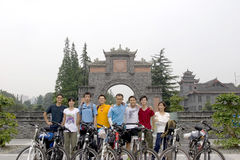 Trip to Tibet by bike. Each year ,about two thousand young Chinese boys and girls go vacation to Lhasa in Tibet of  western China  from Chengdu of Sichuan Stock Photo