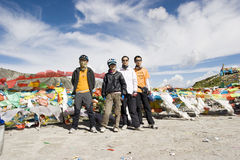 Trip to Tibet by bike stock image