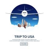Trip to USA. New York skyline. Travelling illustration. Modern flat design. Time to travel. Royalty Free Stock Photos