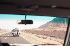 Trip with Toyota 4x4 in desert royalty free stock image