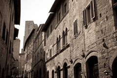 The beauty of the Tuscan towns, here in San Gimignano. Trip in Tuscany between monuments and museums food and antiquity, the beauty of Italy royalty free stock photos