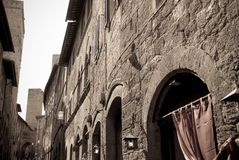 The beauty of the Tuscan towns, here in San Gimignano. Trip in Tuscany between monuments and museums food and antiquity, the beauty of Italy stock image