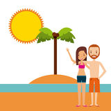 Trip and vacations design. Happy couple cartoon icon over beach landscape. trip and vacations concept. colorful design.  illustration Royalty Free Stock Image