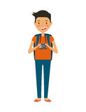Trip and vacations design. Man with a photographic camera cartoon icon over white background. trip and vacations concept. colorful design.  illustration Stock Image