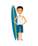 Trip and vacations design. Surfboard and happy man cartoon icon over white background. trip and vacations concept. colorful design.  illustration Stock Photo